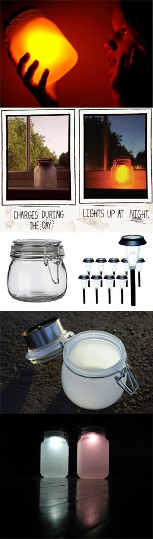 DIY Solar Mason Jar Garden Lights / These are so easy! Use White, Color changing or pick any color you Love. 12 solar light's  you can get for under $30 on Amazon. That's more than enough to do your whole front yard. Here is the How to Link > http://blog.freepeople.com/2012/08/sun-jar-diy/