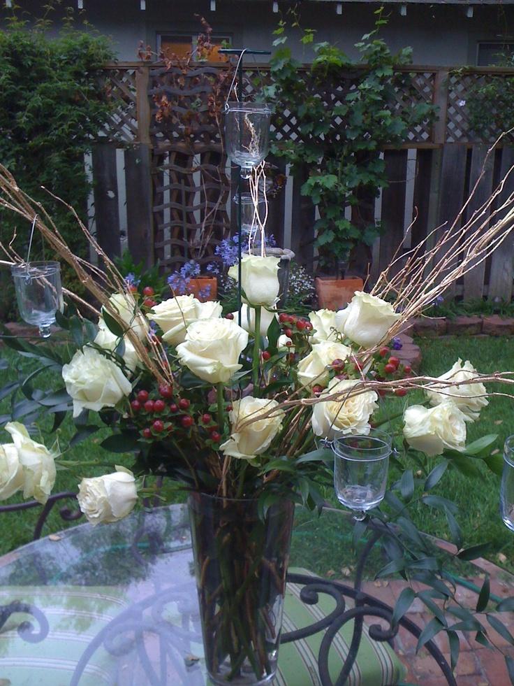 wedding centerpieces fake flowers%0A Rose Centerpiece  Italian Dinner