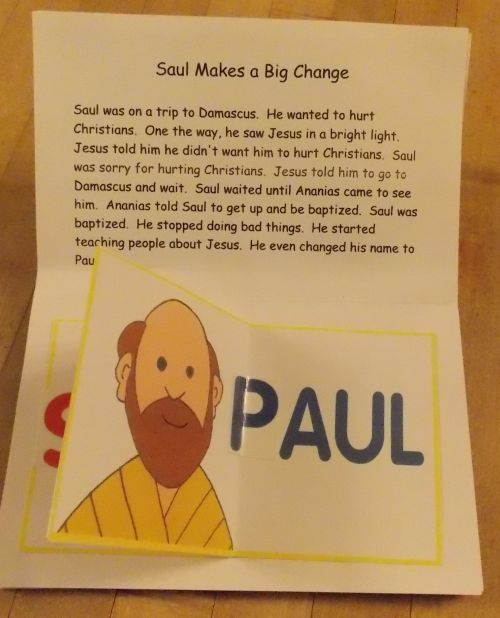 Paul Pop-up Book  - I like the bottom part of this, but would reword the top to emphasize Paul trusting in Jesus for salvation.