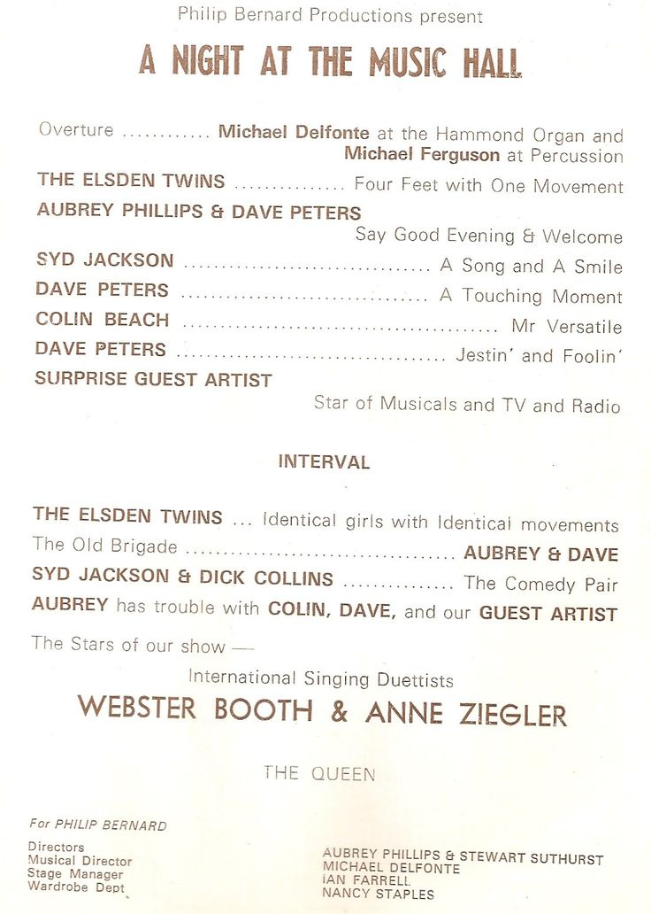 Wimbledon Theatre. A Night at the Music Hall (late 1970s).