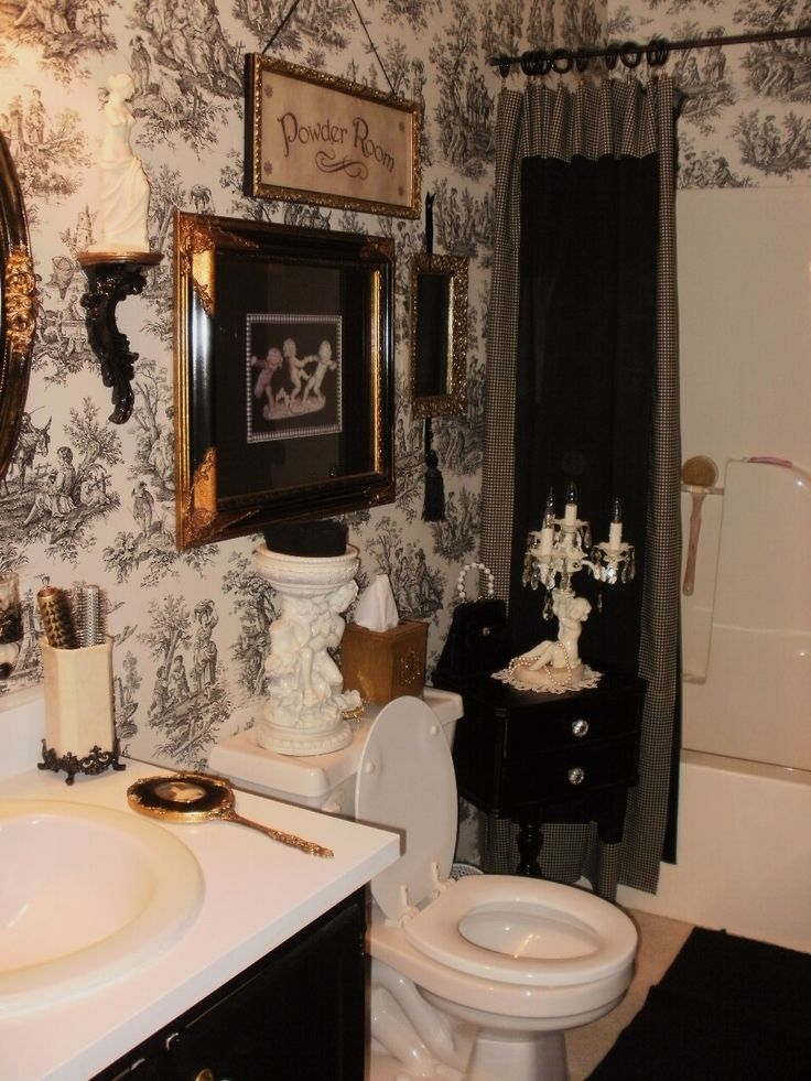 17 best ideas about toile wallpaper on pinterest bath powder pedestal sink bathroom and - Toile bathroom decor ...