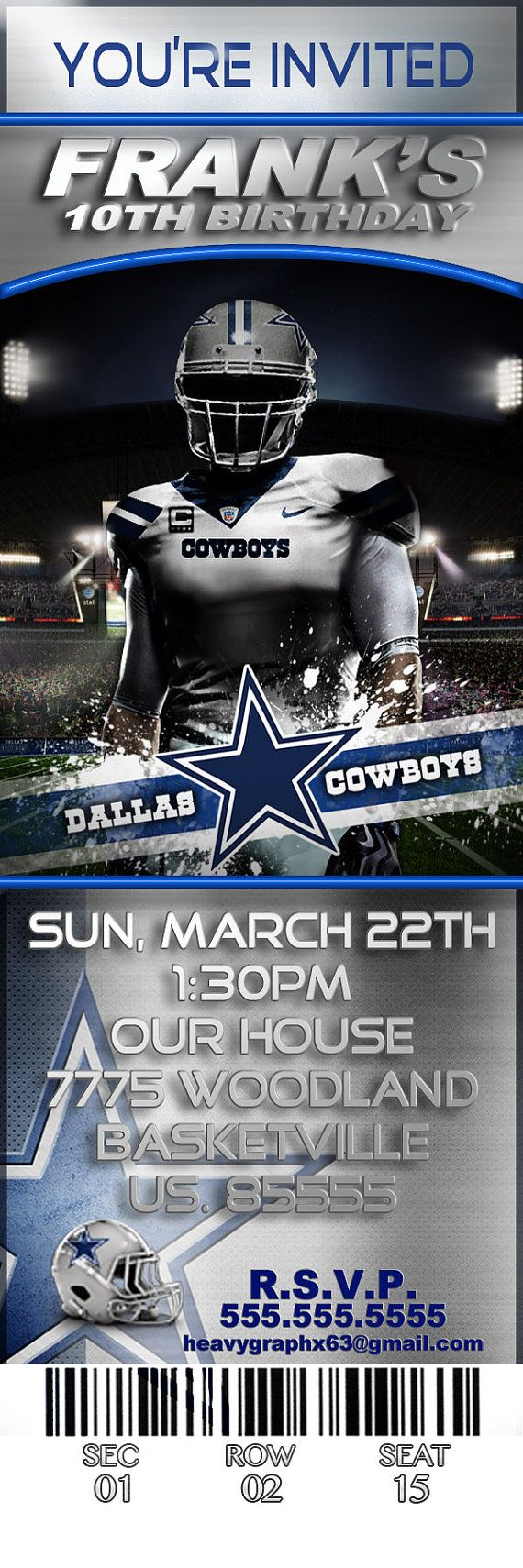 13 best Xaviers 7th birthday party idea images – Dallas Cowboys Party Invitations