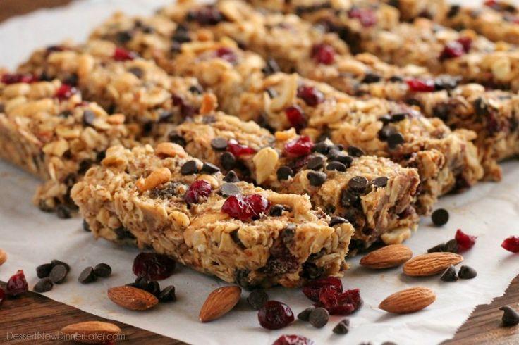 Peanut Butter Chocolate Trail Mix Granola Bars