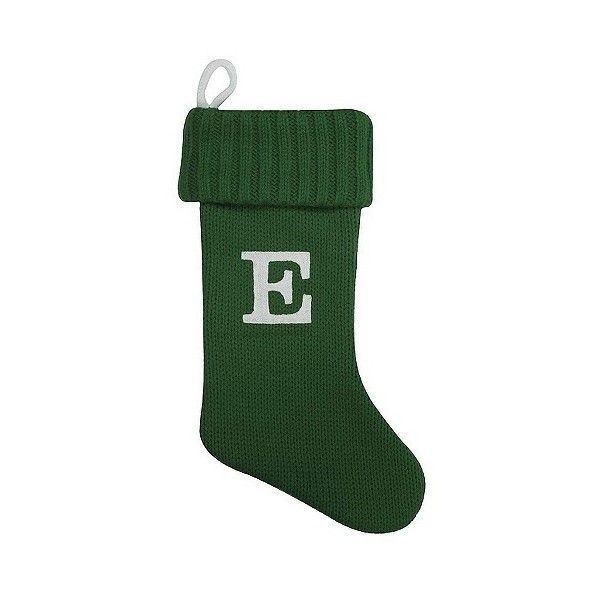 Letter E Green Knit Monogram Christmas Stocking ($13) ❤ liked on Polyvore featuring home, home decor, holiday decorations, green e, monogrammed christmas stockings, green home decor, green christmas stocking, target christmas stockings and knit christmas stockings