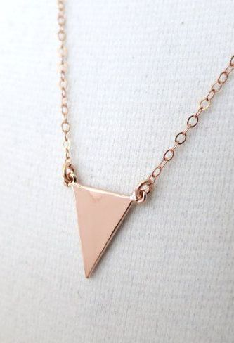Rose Gold minimalist triangle necklace simple