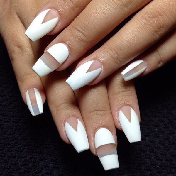 This stunning and unique design is actually quite simple to do. You can cut out the shapes you want with a scotch tape, tape it on your nails and then paint your nails white like the usual. When you strip those tape and you can see the amazing results.