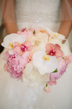 Exotic Pink and White Bridal Bouquet | photography by http://carolineplusben.com | floral design by http://unexpectedelements.com/ | wedding planning and event design by http://brockandcoevents.com/