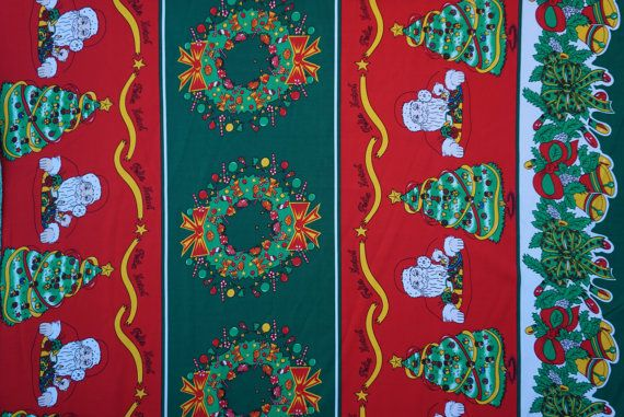 Red And Green polyester panama fabrics  XMAS theme party Christmas decorations table runners Christmas jumpers, wraths, trees santa print