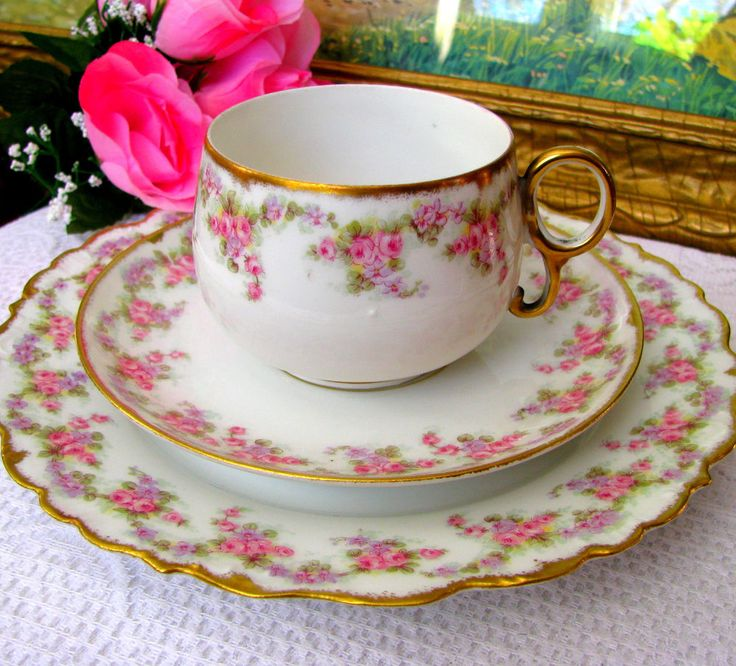 SM Limoges Elite Works Bridal Wreath Luncheon Trio - Teacup, Saucer, Lunch Plate #ArtNouveau #SMLimogesEliteWorks