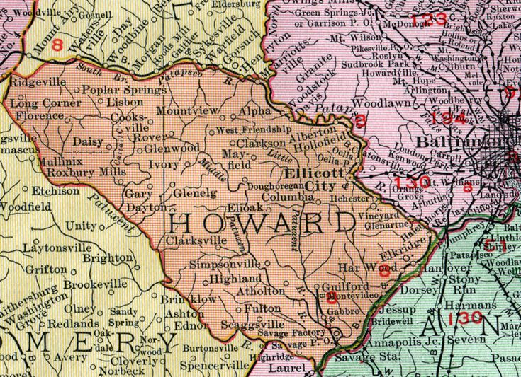 Howard County, Maryland, Map, 1911, Rand McNally, Ellicott City, Columbia, Savage, Scaggsville, Atholton, Guilford, Montevideo, Gabbro, Har Wood, Doughoregan, Elioak, Ilchester, Roxbury Mills