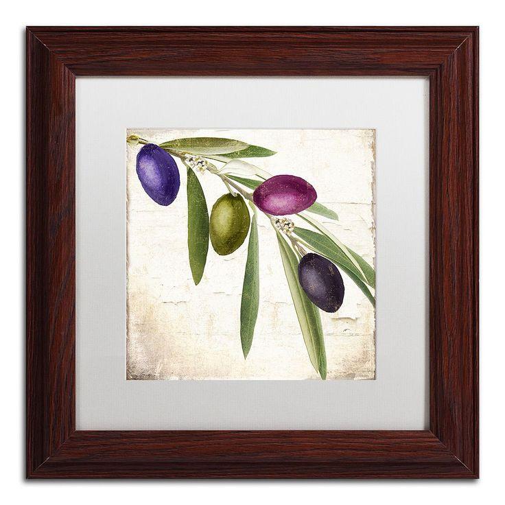 Trademark Fine Art Olive Branch IV Traditional Framed Wall Art, White