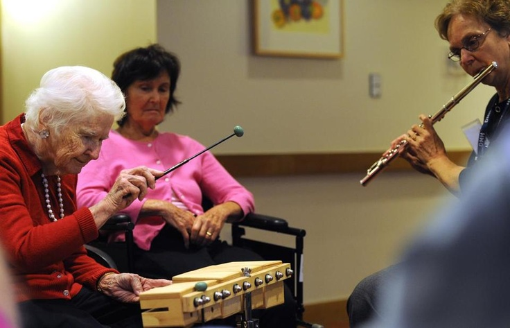 In the music class, Dorothy played percussion and Harrison the flute.