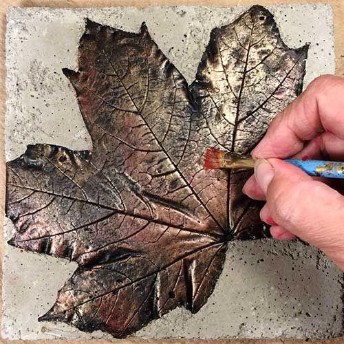 Metallic Concrete Leaf Trivet