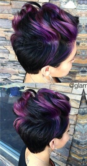 Purple dyed pixie hair cut (That is so not a pixie cut at all, but I love the color!)