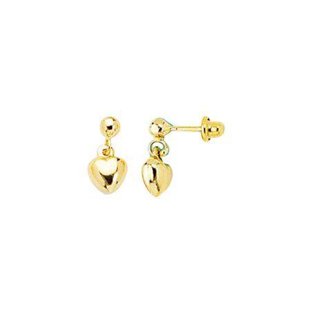 14k Yellow Gold Dangle Puffed Heart Child/Baby Earrings