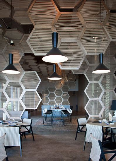 honeycomb dividers and ceiling treatment W Hotel on Vieques