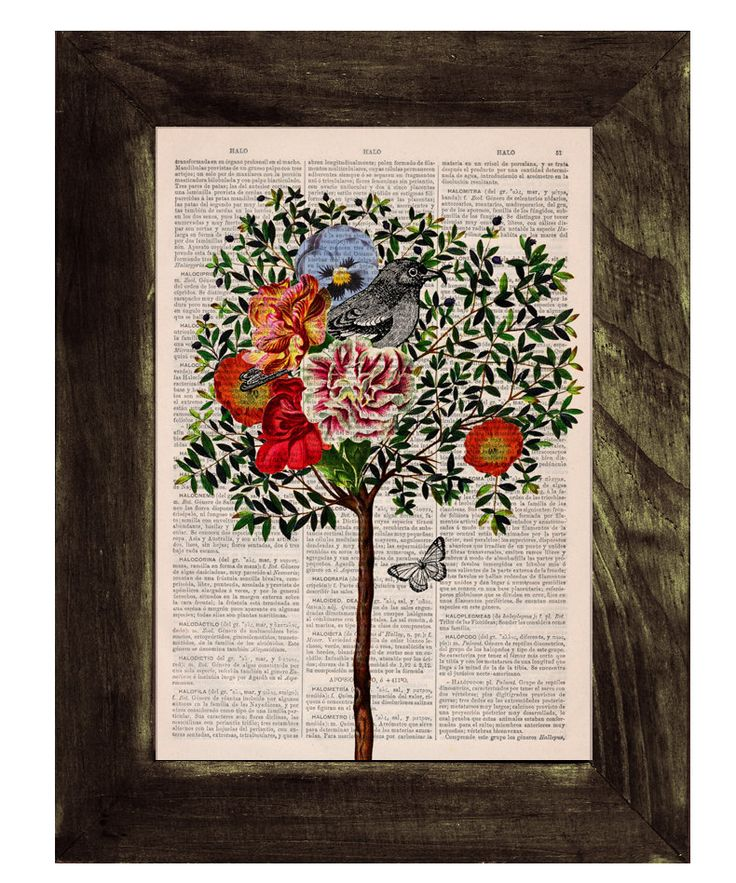 Wall decor Collage Tree with Bird Print on Vintage Book page - Perfect  gift- altered art -dictionary page illustration book print. $7.99, via Etsy.