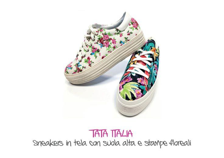 TATA ITALIA - Sneakers in tela con suola alta e stampe floreali