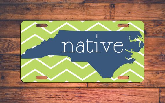 NORTH CAROLINA NATIVE CUSTOM LICENSE PLATE! Love North Carolina? We do too! ► STEPS TO ORDER ◄ ✓ Add item to your cart. ✓ Below item you will see a Note to TheMonogramStand section. ✓ Please leave the following in the Notes section:  • Chevron Color (You can also get this blank - no pattern, just let us know!)  • State Color ✓ Checkout ☺  Q: Need a different state other than North Carolina? Dont worry, weve got you covered! Check out our other listings and find the state you love!  ► DETAILS…
