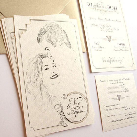 Invitatie de nunta de lux la comanda, cu portretul desenat al mirilor si tema Gatsby | Invitatii Nunta Originale YorkDeco