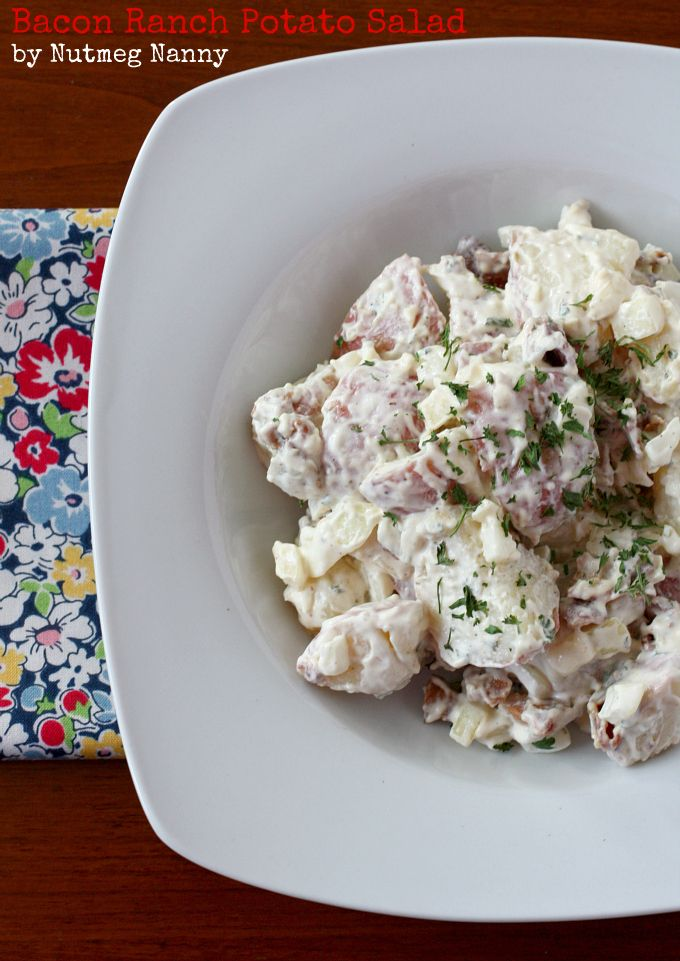 Nutmeg Nanny » Bacon Ranch Potato Salad- I switched it up with red onion, veganaise, Pinot Grigio vinegar, no ranch but some onion soup mix. Yummy!