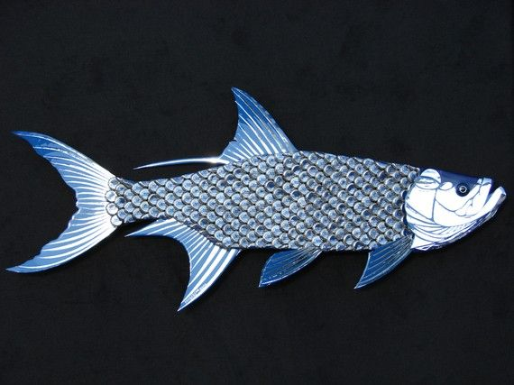 Tarpon Fish Large Metal Wall Art Bud Light Bottle by EricsEasel