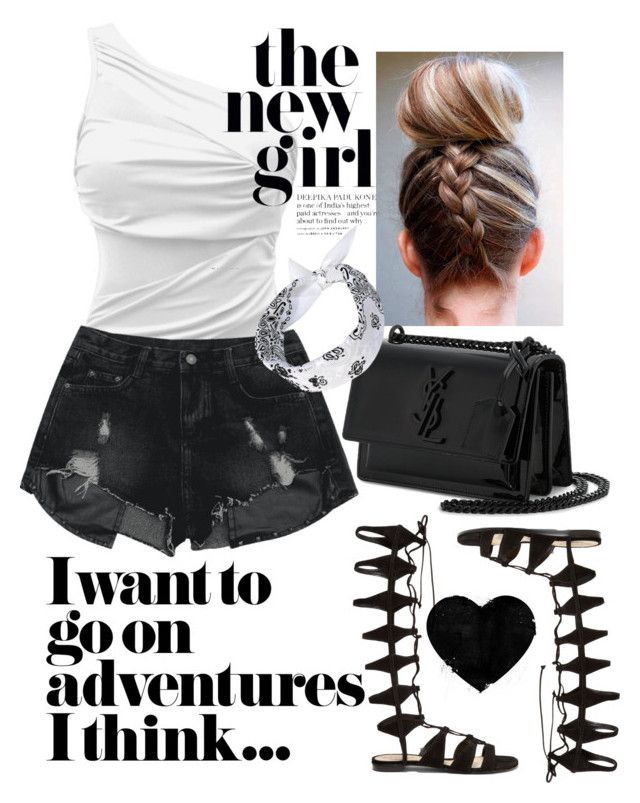 """-indy- // one piece b&w"" by indiravidya on Polyvore featuring Yves Saint Laurent and Schutz"