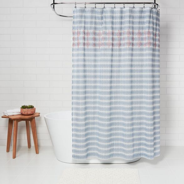 Wood Block Ogee Print With Embroidery Shower Curtain Blue Opalhouse Target Shower Curtain Curtains Wood Blocks