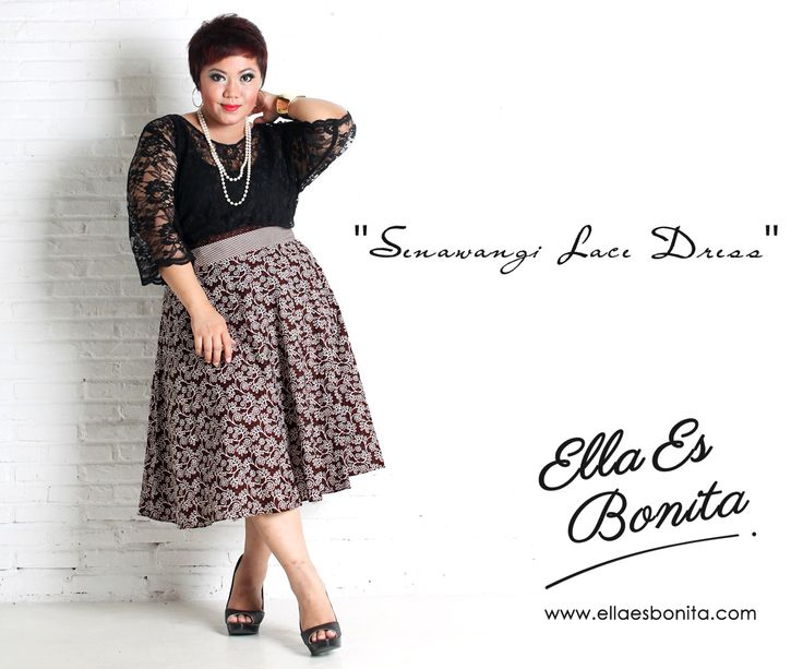 Senawangi Lace Dress - This vintage batik lace dress features high quality brocade lace for the tops and batik cotton for the skirt which specially designed for sophisticated curvy women originally made by Indonesian Designer & Local Brand: Ella Es Bonita. Available at www.ellaesbonita.com