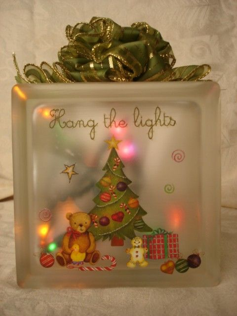 Mini Gingerbread Decorated Glass Block by Sandiescreations on Etsy