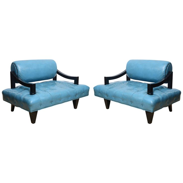 Pair of James Mont Mid-Century Modern Lounge Chairs, All Original Leather | 1stdibs.com