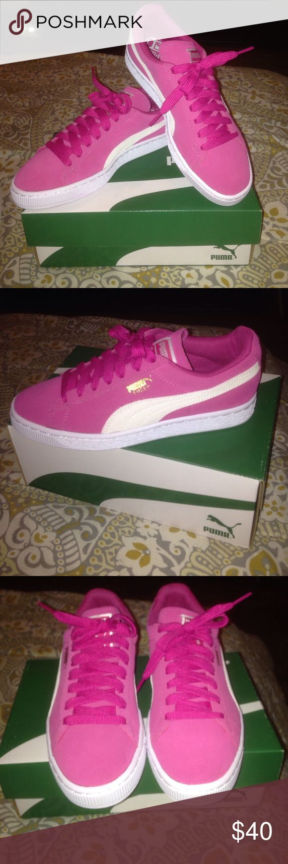 Pink Puma suedes fuchsia purple-puma white. womens 7. never worn still have box. asking for $40 or best offer. Puma Shoes Sneakers