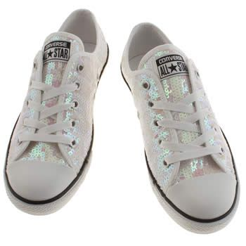 Womens White Converse All Star Dainty Ox Sequins Trainers