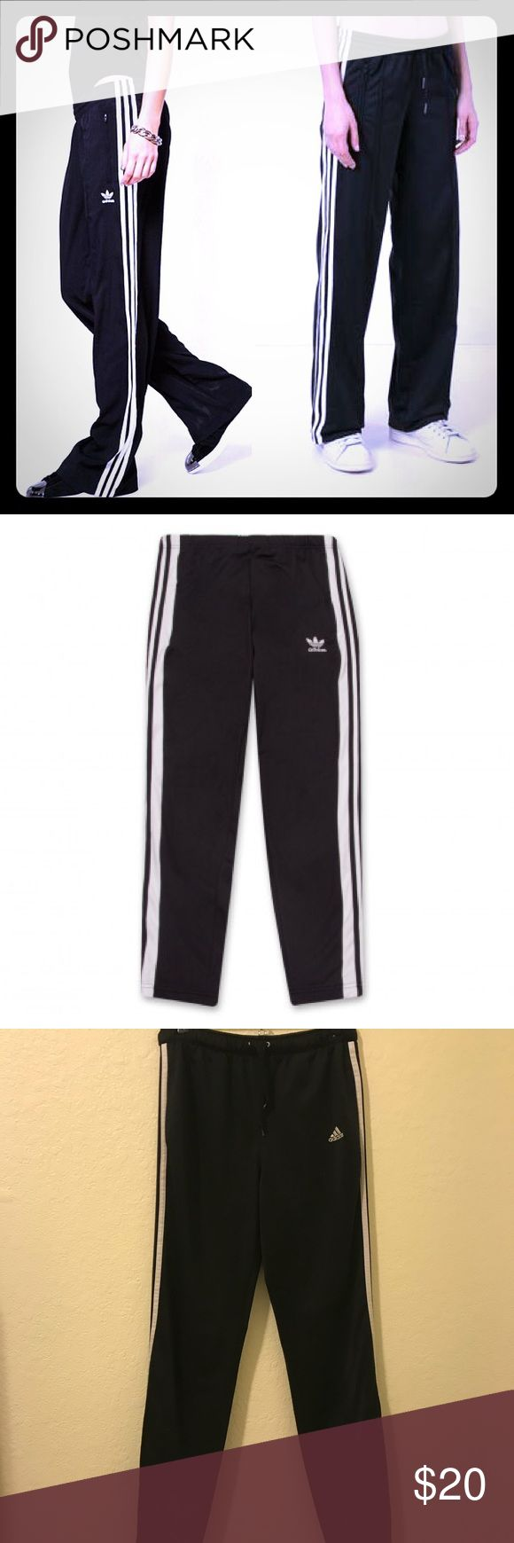 """Adidas Originals Track Pants Classic style with three stripes down each leg. Size tag was cutout of pants. These are a small. Top of waistband to bottom hem measures approximately 40"""" adidas Pants Track Pants & Joggers"""