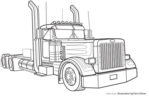 Line Drawing Truck : Technical drawing semi terrioliverdesign dessin