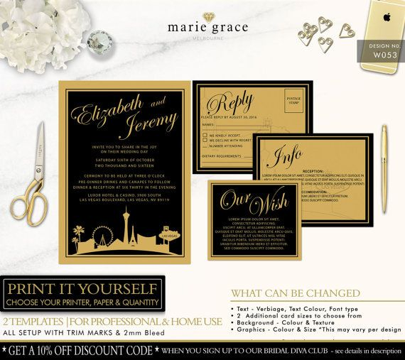 LAS VEGAS Wedding Invitation Black and Gold by mariegracemelbourne