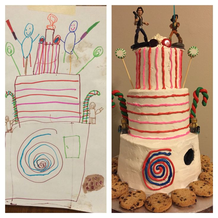Cake replicated from 6 year old's drawing