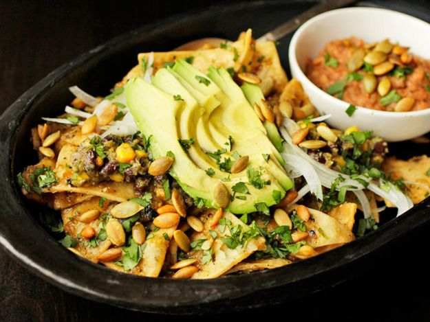 Vegan: Chilaquiles with Pepitas, Charred Corn, and Black Beans