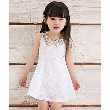 Baby Kids Children's Girls Lovely Sequins Collar Sleeveless Lace Vest Skirt Princess Dress – EUR € 7.19