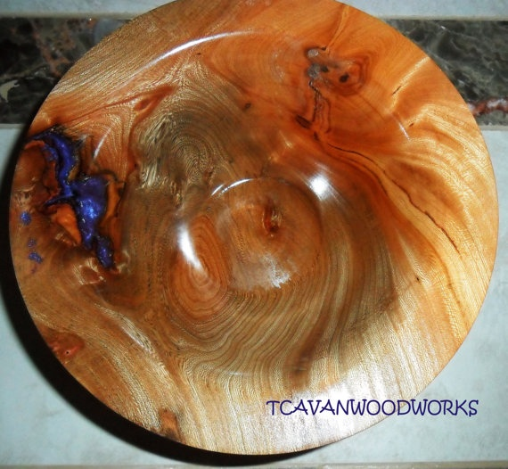 Wood Turned Willow Bowl Inlaid With Purple Pearl Resin