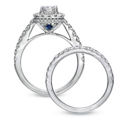 Vera Wang LOVE Collection 2 CT. T.W. Princess-Cut Diamond Frame Bridal Set in 14K White Gold