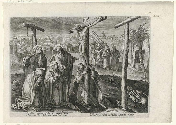 Philips Galle   Christus, gestorven aan het kruis, Philips Galle, 1585 - 1586   Christus is gestorven aan het kruis. Maria, samen met Johannes en Maria Magdalena en twee andere vrouwen bewenen hem. In de achtergrond komen Jozef van Arimatea en Nicodemus aan in Golgota. De prent heeft een Latijns onderschrift en maakt deel uit van een serie over de passie, dood en wederopstanding van Christus.