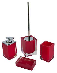 RIDDER  Bad Accessoire Set Seifenspender Badezimmerset Badset rot red 4-tlg.
