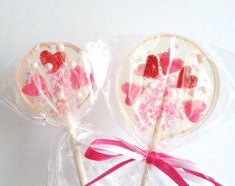 Cuori - zucchero dolce rosso amore rosa San Valentino matrimonio bacio ventosa caramella - sei lecca-lecca