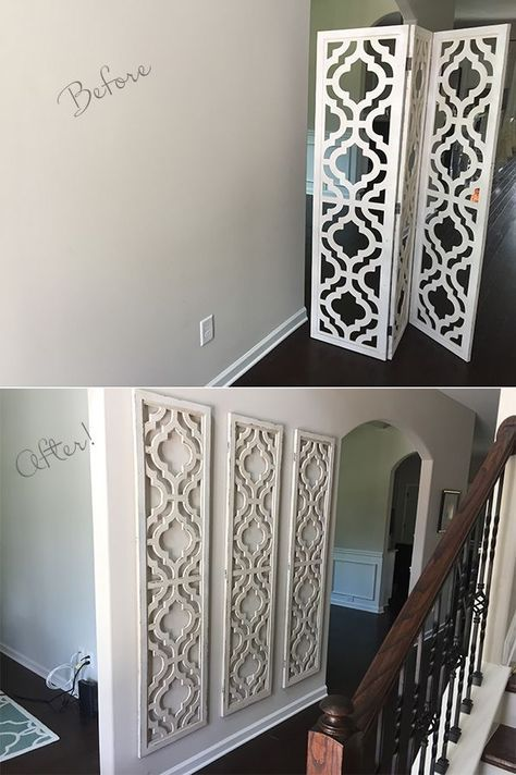 A really creative idea to spice up the entryway hall rather then filling it with picture frames - I want to put frames in the stairway so I need to avoid over crowding the hall with frames as well. I'd personally paint them a darker grey then my walls to give them some dimension.