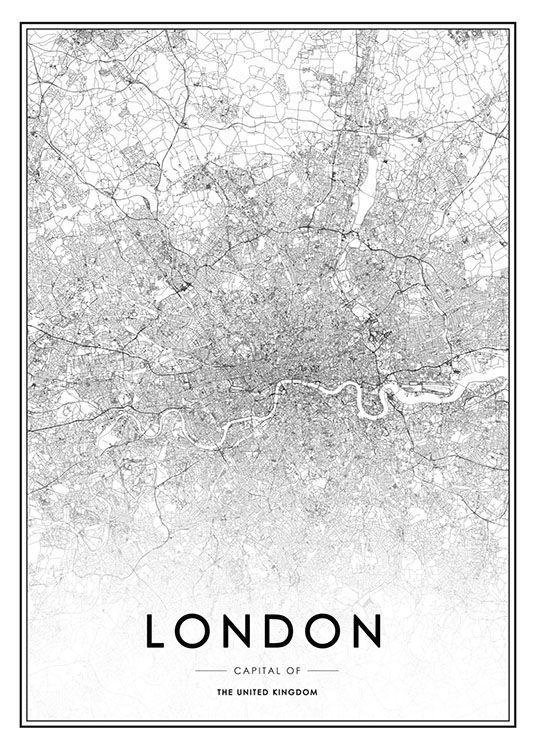 Karte London.Schwarz Weiße London Karte Londonkarte Plakat Schwarzweiße