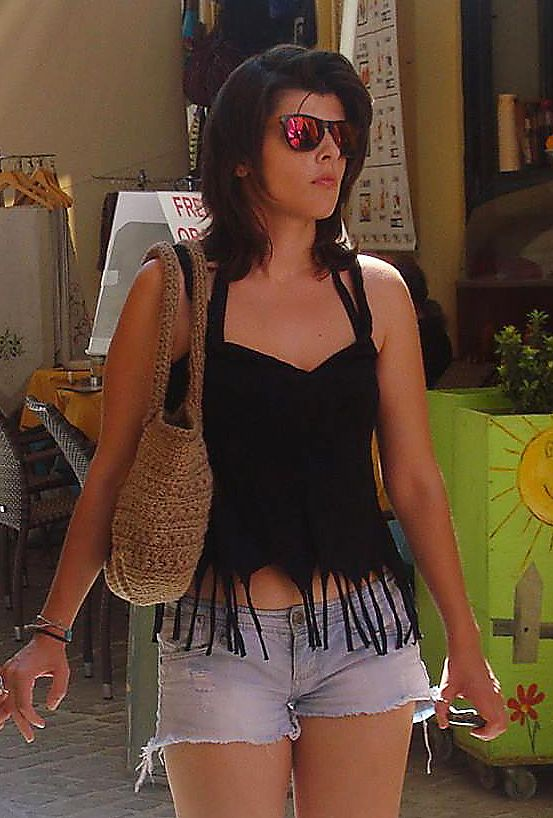 My model at Chania, Crete. Handmade top and bag. <3