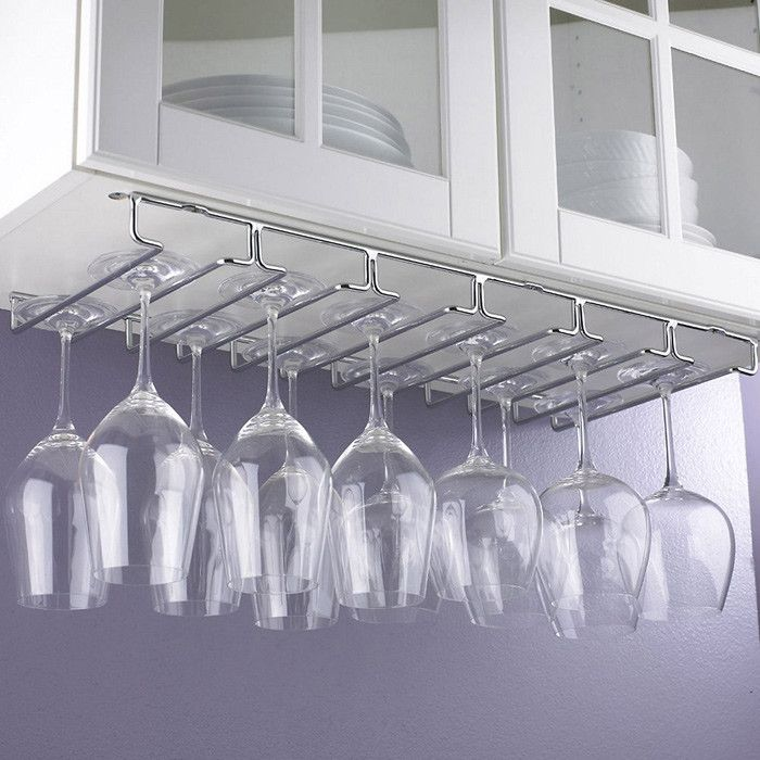 under cabinet stemware rack! Perfect for a small space!