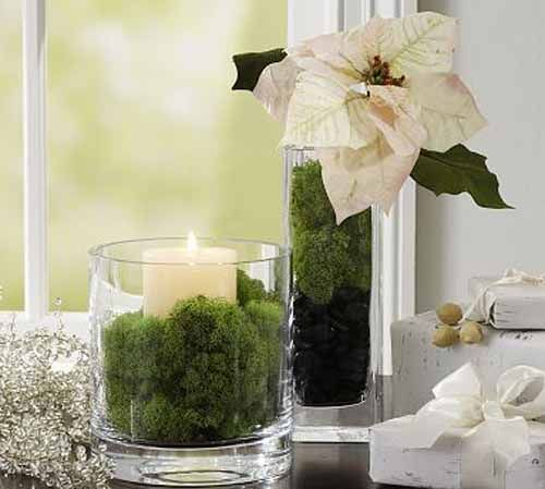 Candle centerpiece with green moss for eco friendly Christmas decorating