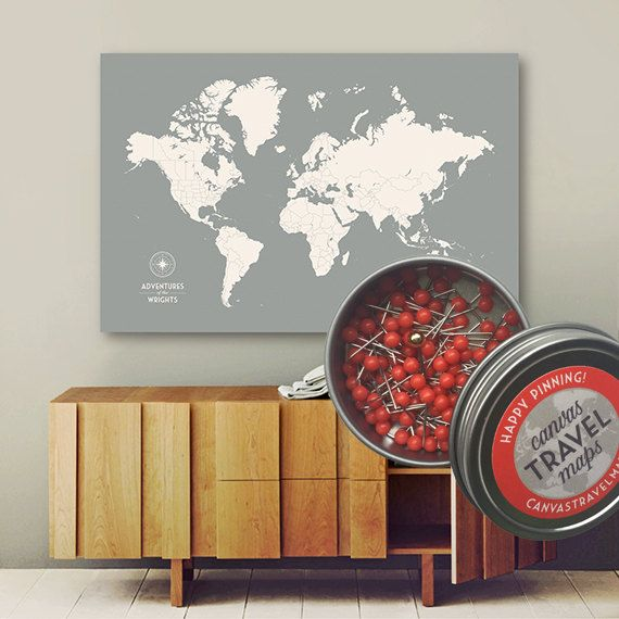 This personalized push pin travel map on canvas makes a beautiful wall art piece for your home - and it gets even better - enjoy FREE SHIPPING